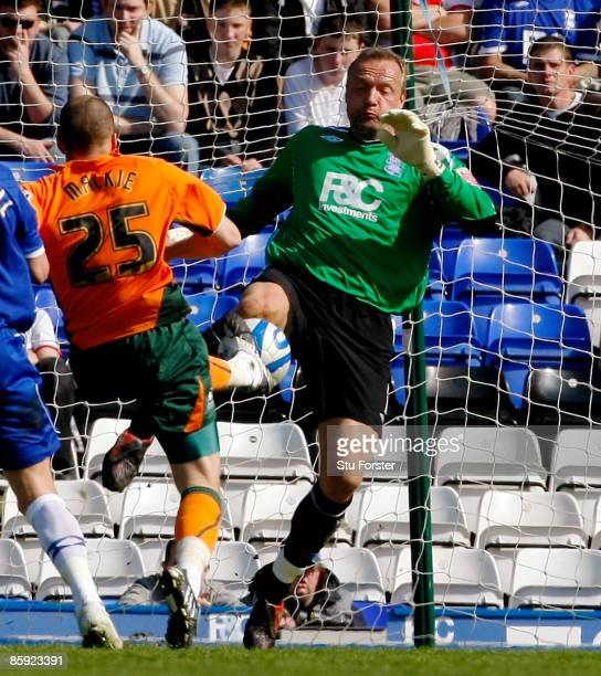 Birmingham goalkeeper Maik Taylor challenges Plymouth forward Jamie Mackie and is sent off during the Coca Cola Championship match between Birmingham...