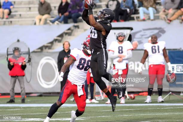 Birmingham Iron defensive back Jamar Summers makes an interception in the game between the Birmingham Iron and the Memphis Express at on February 10...