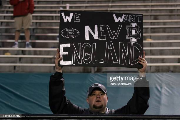 Birmingham Iron fan holds a sign for the New England Patriots during the game between the San Antonio Commanders and the Birmingham Iron on March 3...