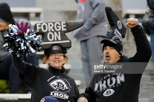 Birmingham Iron fans cheer in an Alliance of American Football game between the San Antonio Commanders and the Birmingham Iron at Legion Field on...