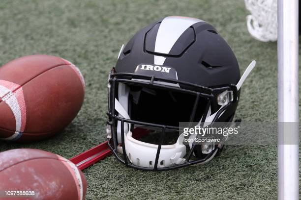 Birmingham Iron helmet at the game between the Birmingham Iron and the Memphis Express at on February 10 2019 at Legion Field in Birmingham Alabama