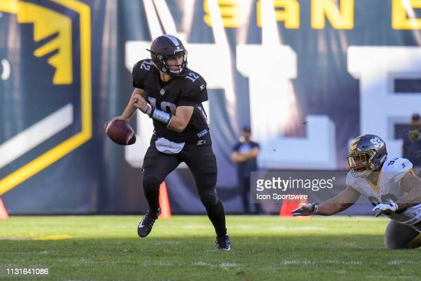 Birmingham Iron quarterback Luis Perez scrambles during a AAF football game between the Birmingham Iron and the San Diego Fleet on March 17 at SDCCU...