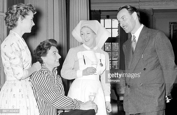 Birmingham Mail film critic Arthur Steele shares a joke with Muriel Pavlow Kathleen Harrison and Muriel Box during a lunch break at Pinewood 4th...
