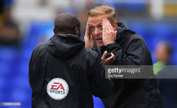 Birmingham manager Garry Monk reacts to 4th official Michael D'Aguilar during the friendly match between Birmingham City and Brighton and Hove Albion...