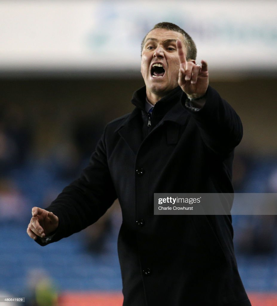 Birmingham manager Lee Clark gets animated on the touch line during the Sky Bet Championship match between Millwall and Birmingham City at The Den on March 25, 2014 in London, England.