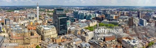 birmingham panoramic aerial cityscape, england, uk - birmingham england stock pictures, royalty-free photos & images