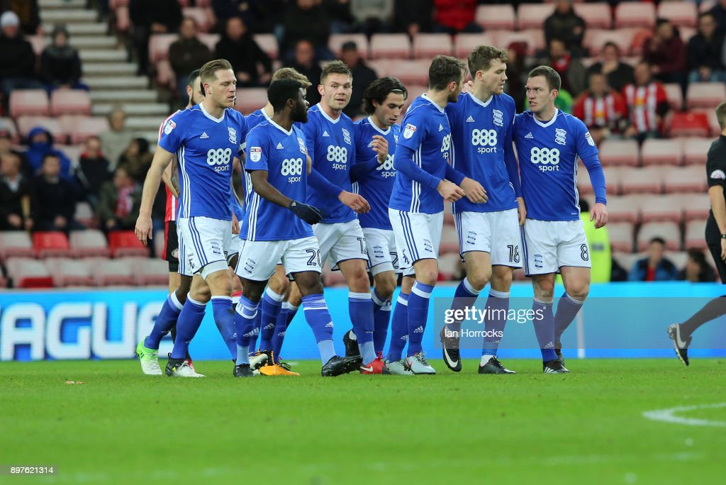 Birmingham players celebrate the opening goal during the Sky Bet Championship match between Sunderland and Birmingham City at Stadium of Light on December 23, 2017 in Sunderland, England.