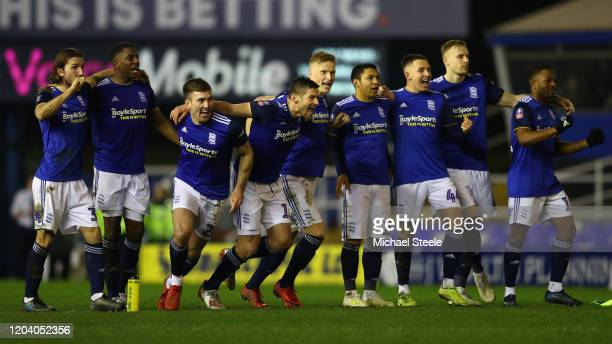 Birmingham players celebrate victory after a penalty shoot out during the FA Cup Fourth Round Replay match between Birmingham City and Coventry City...