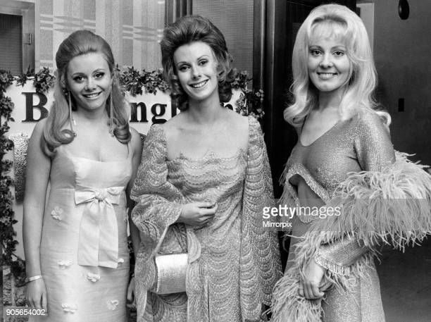 Birmingham Press Club Ball 27th November 1970 Joan Palmer ATV announcer with the two Golden Shot girls Anne Aston and Yutte Stensgaard at the...
