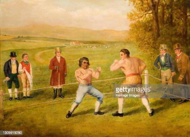 Birmingham Prize Fight, 1789. Painting depicts a fight between Tom Johnson, Champion of England and Isaac Perrins of Birmingham. According to the...