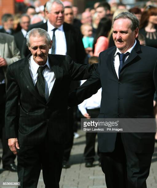 Birmingham Six member Paddy Hill and Guilford Four member Paddy Armstrong attend the funeral of Gerry Conlon who was wrongly convicted of the 1974...
