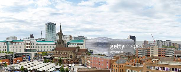 birmingham skyline including the bullring shopping centre - birmingham england stock photos and pictures