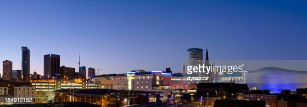 Birmingham skyline night panorama