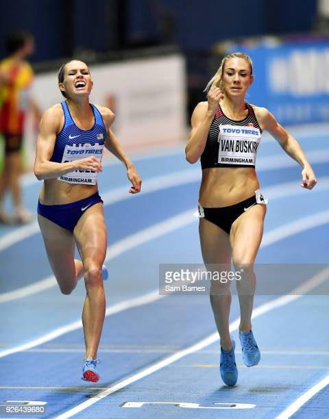 Birmingham United Kingdom 2 March 2018 Colleen Quigley of USA left and Kate Van Buskirk of Canada in action during the Women's 1500m Heats on Day Two...