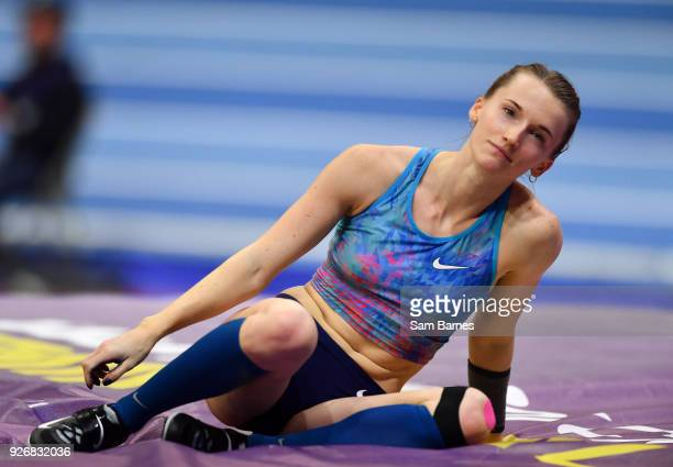 Birmingham United Kingdom 3 March 2018 Anzhelika Sidorova of Authorised Neutral Athletes reacts after a failed clearance during the Women's Pole...
