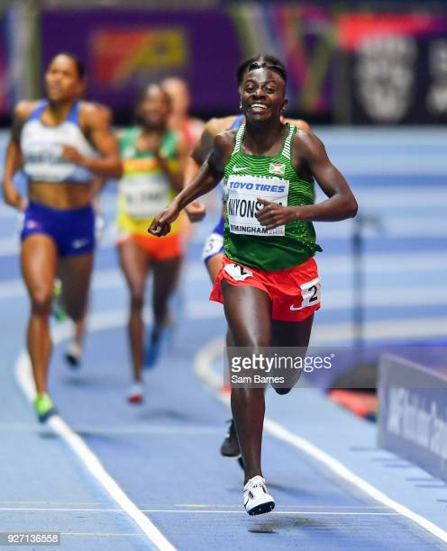 Birmingham United Kingdom 4 March 2018 Francine Niyonsaba of Burundi on her way to winning the Women's 800m Final on day four of the IAAF World...