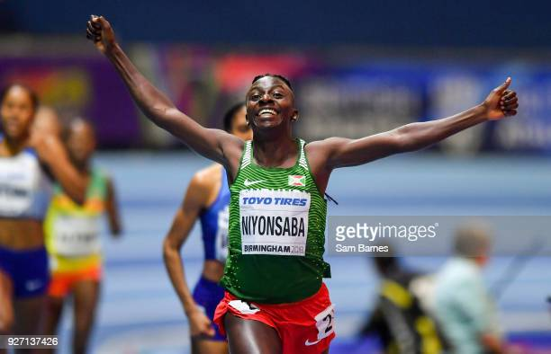 Birmingham United Kingdom 4 March 2018 Francine Niyonsaba of Burundi celebrates winning the Women's 800m Final on day four of the IAAF World Indoor...