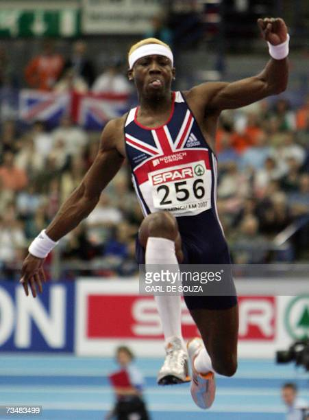 Birmingham, UNITED KINGDOM: British Phillips Idowu competes in the Triple jump final, 03 March 2007 during the 29th European Athletics Indoor...