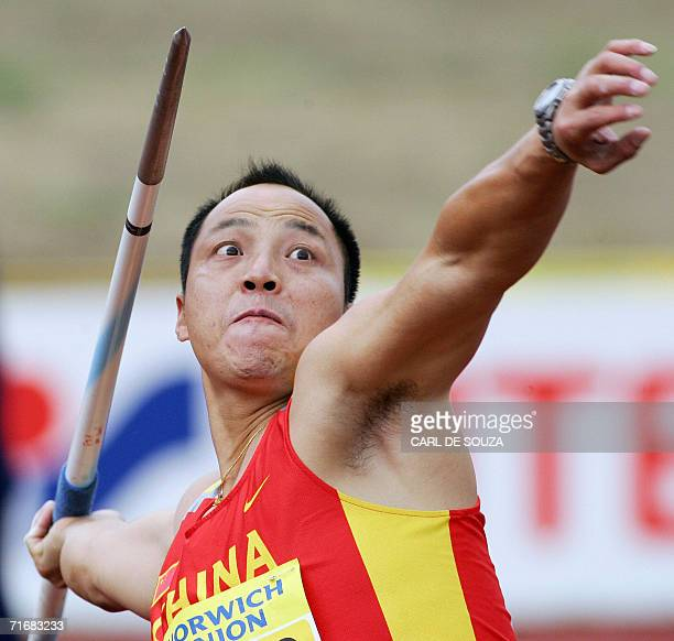 China's Rongxiang Li competes in the Javelin event of the Norwich Union 2006 International Athletics competition at the Alexander stadium Birmingham...
