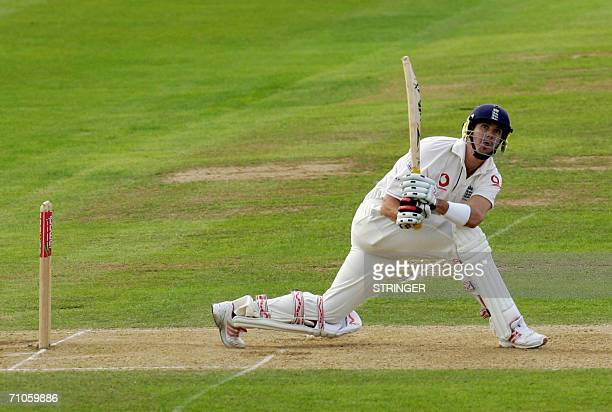Birmingham, UNITED KINGDOM: England's batsman Kevin Pietersen hits a six with a reverse sweep during the second day of the second cricket test match...