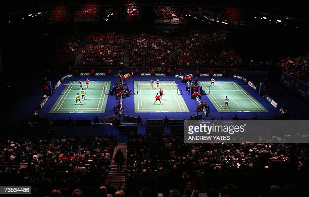 Fans watch the quater final matches at the All England Badminton Championships at the National Indoor Arena in Birmingham 09 March 2007 AFP...