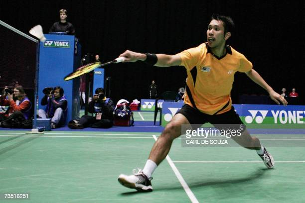 Muhd Roslin Hashim of Malaysia is seen in action during his mens singles first round match against Lin Dan of China in the All England Badminton...
