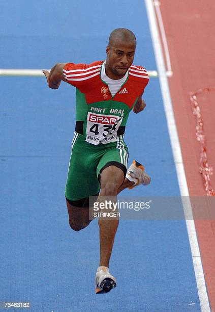 Portuguese Nelson Evora competes in the Triple jump final 03 March 2007 during the 29th European Athletics Indoor Championships in BirminghamMany of...