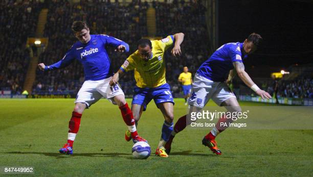 Birmingham's Andros Townsend in action against Portsmouth's Scott Allan and Greg Halford during the npower Championship match at Fratton Park...