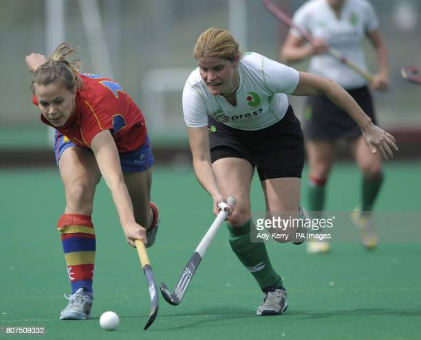 Birmingham's Hannah Richardson challenges with Canterbury's Jen Wilson during their playoff game at the University of Birmingham