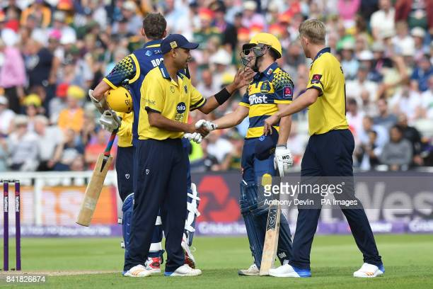 Birmingham's Jeetan Patel shakes hands with Glamorgan's Andrew Salter during the NatWest T20 Blast Finals Day at Edgbaston Birmingham