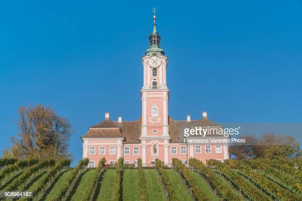 Birnau sanctuary and vineyards from below. Uhldingen-Mühlhofen, Baden-Württemberg, Germany.