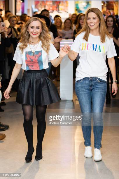 Birte Dargel and Miriam Lange walk the runway during the Superbirdy Special Edition Presentation at stilwerk on February 02, 2019 in Duesseldorf,...
