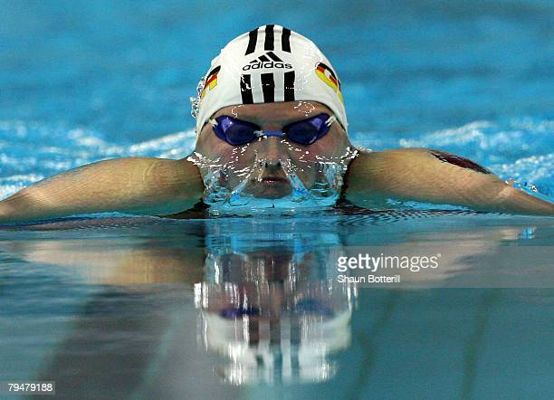 Birte Steven of Germany competes in the 400m Breaststroke during the 'Good Luck Beijing' World Swimming China Open at the National Aquatics Centre on...