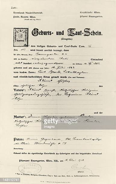 Birth certificate and certificate of baptism of artist Gustav Klimt Vienna Austria Photograph