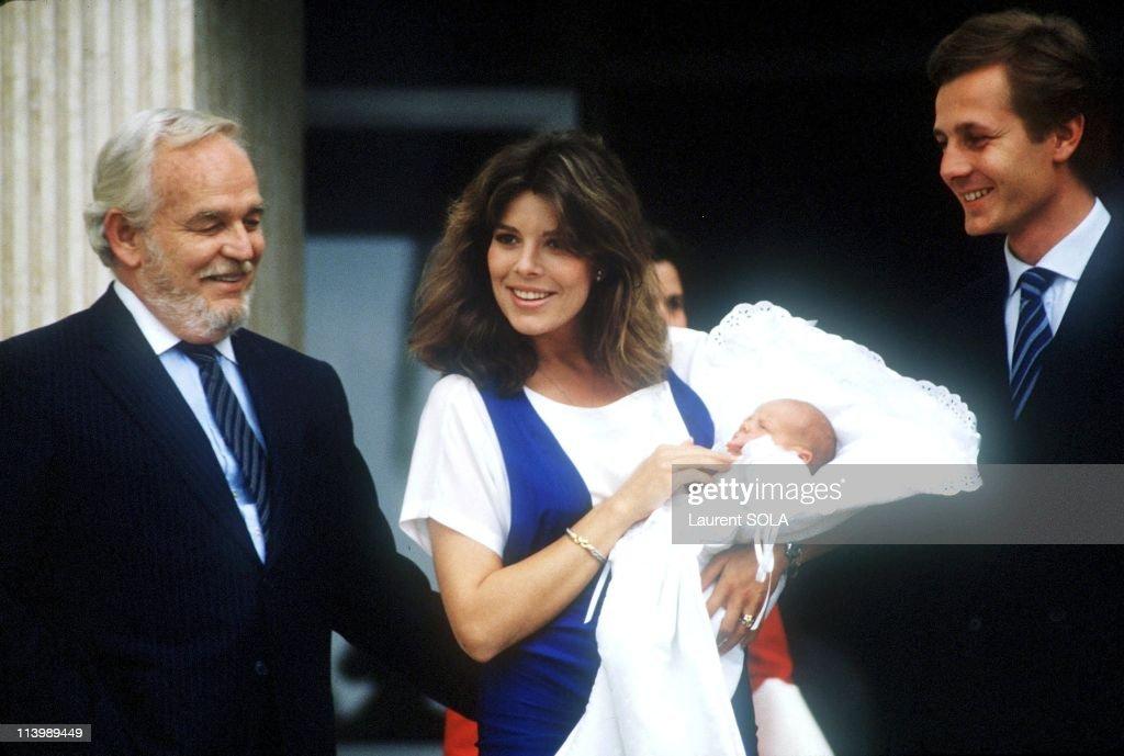 Birth of Andrea Casiraghi In Monaco city, Monaco On June 10, 1984-Prince Rainier, Princess Caroline, Stefano Casiraghi.
