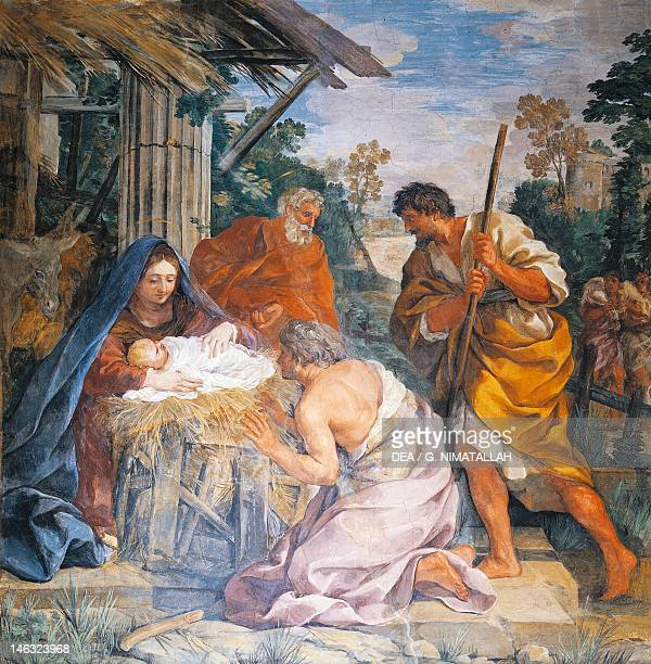 Birth of Christ 16211630 by Pietro da Cortona fresco Villa Sacchetti Castelfusano