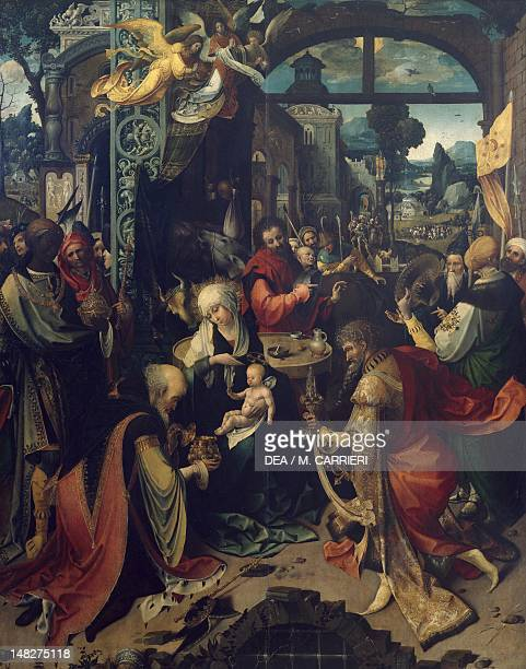 Birth of Jesus the central panel of a triptych by Jan de Beer oil on canvas 156x123 cm Milan Pinacoteca Di Brera