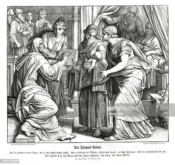 Birth of John Gospel of Luke chapter I verses 62 64 'And they made signs to his father how he would have him called And he asked for a writing table...