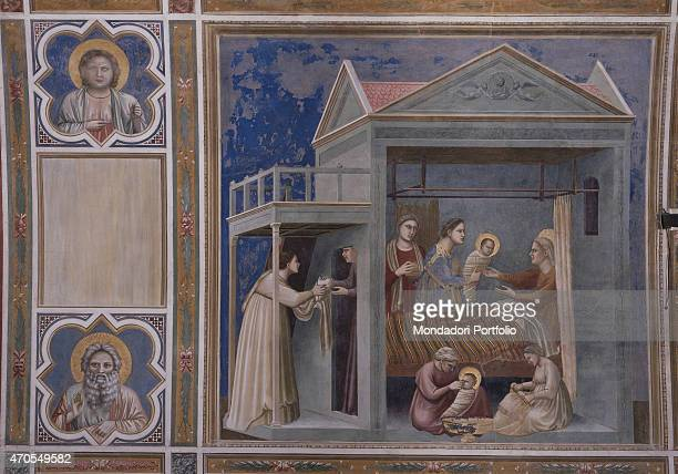 'Birth of the Virgin by Giotto 13031305 14th Century fresco Italy Veneto Padua Scrovegni Chapel After restoration picture Whole artwork view In a...