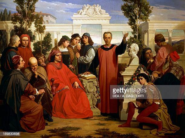 Birthday and parentalia of Plato celebrated at Villa di Careggi by Lorenzo the Magnificent 18621867 by Luigi Mussini oil on canvas 1303 x977 cm Turin...