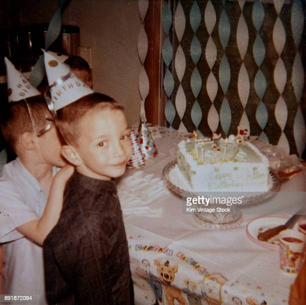 Birthday boy with his cake, ca. 1967.