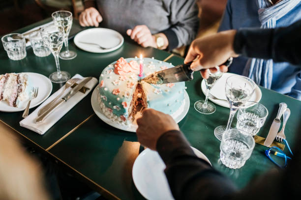 birthday cake being served in restaurant - best friend birthday cake stock pictures, royalty-free photos & images