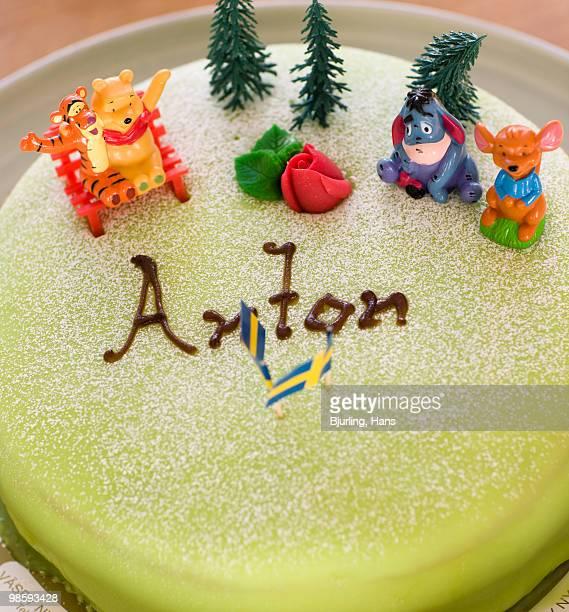 A birthday cake, close-up.