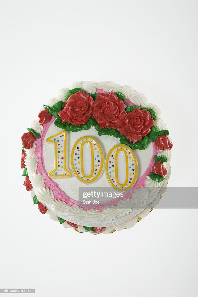 Birthday Cake Decorated With Roses And Number 100 White Background Stock Photo