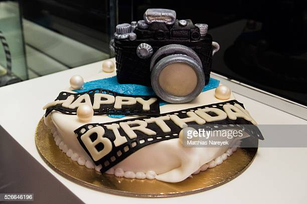 A birthday cake for photographer Rankin during the Rankin Live x KaDeWe event at KaDeWe on April 30 2016 in Berlin Germany