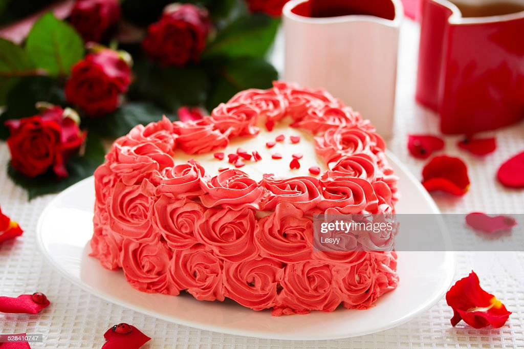 Birthday Cake For Valentines Day With Roses Stock Photo Getty Images