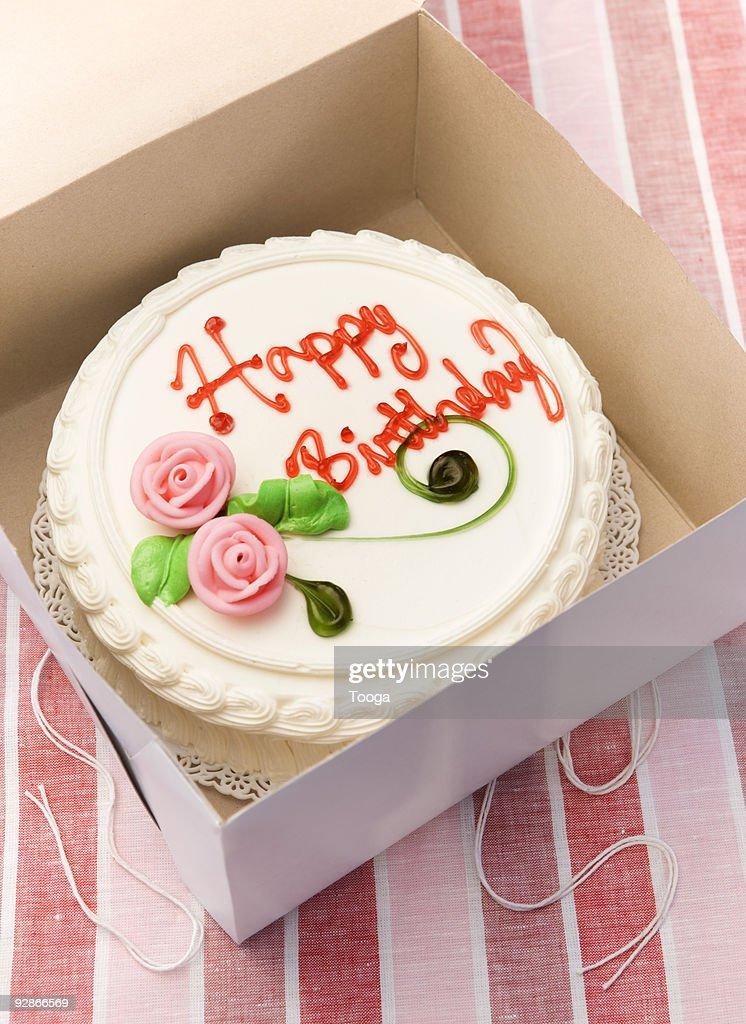 Birthday Cake In Box Stock Foto