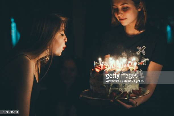 Birthday Cake In Dark Room