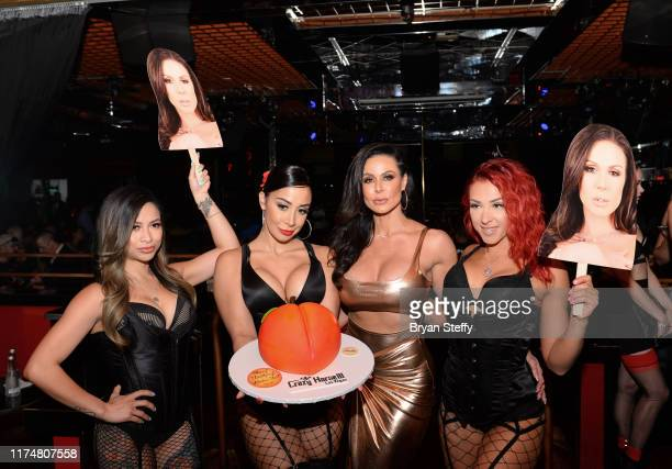 Birthday cake is presented to adult film actress Kendra Lust during her birthday party at the Crazy Horse 3 Gentlemen's Club on September 14, 2019 in...