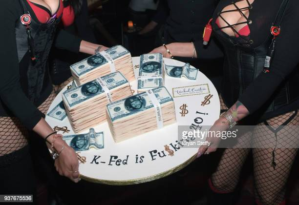 A birthday cake is presented to DJ Kevin Federline during his birthday celebration at the Crazy Horse III Gentlemen's Club on March 24 2018 in Las...
